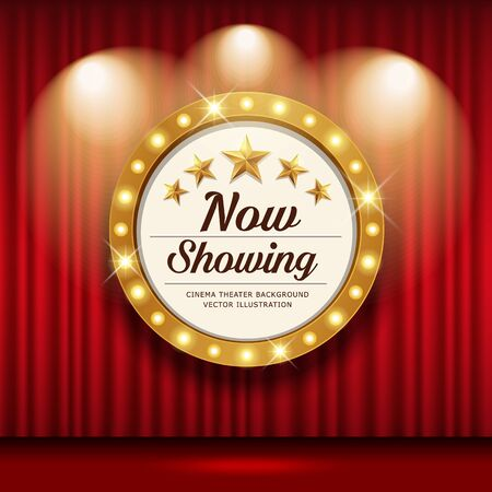 Cinema Theater vector and circle sign gold light up curtains red design background, illustration