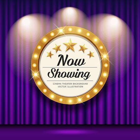 Cinema Theater vector and circle sign gold light up curtains purple design background, illustration Ilustração