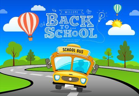 Vector Back to school bus on road and tree concept banner design background, illustration Ilustração
