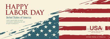 Happy Labor day flag of america vector, brush stroke vintage design background, illustration