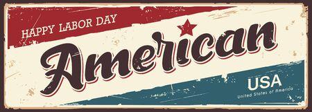 Happy Labor day america vector label banners grunge vintage retro design background, illustration