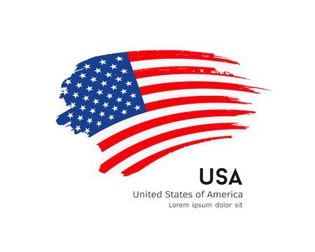 Flag of usa vector brush stroke design isolated on white Ilustração
