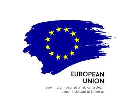 Flag of European Union vector brush stroke design isolated on white