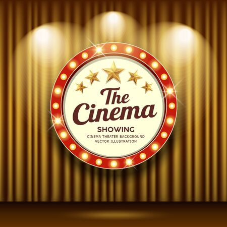 Cinema Theater vector and circle sign red and gold light up curtains gold design