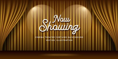 Cinema Theater curtains gold and lighting banner background, vector illustration