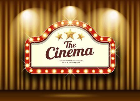 Cinema Theater and red sign light up curtains gold design background, vector illustration Ilustração