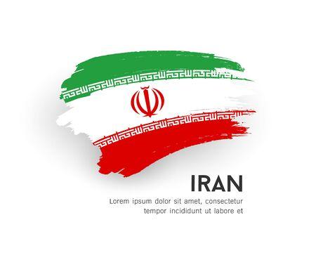 Flag of iran vector brush stroke design isolated on white background, illustration
