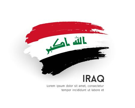 Flag of iraq vector brush stroke design isolated on white background, illustration