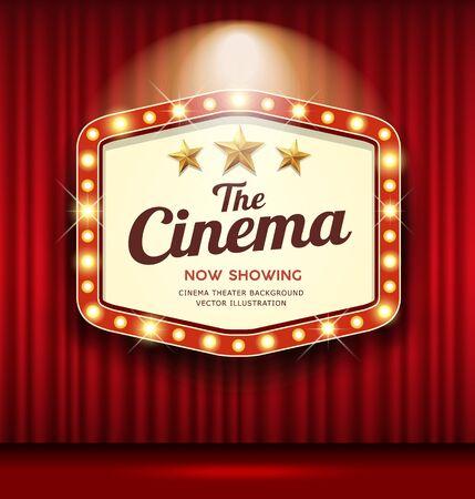 Cinema Theater Hexagon sign red curtain light up banner design background, vector illustration Ilustração