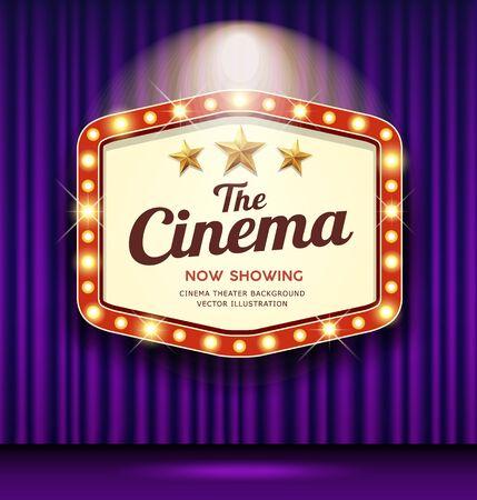 Cinema Theater Hexagon sign purple curtain light up banner design background, vector illustration Ilustração