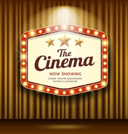 Cinema Theater Hexagon sign gold curtain light up banner design background, vector illustration