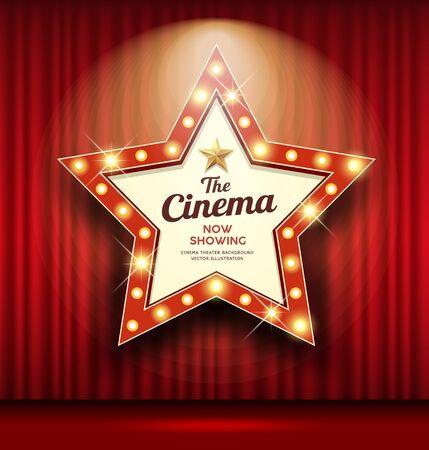 Cinema Theater sign star shape red curtain light up banner design background, vector illustration Ilustração