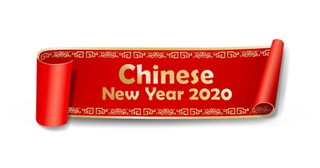 Vector Red Roll paper new year chinese frame style design on white background, illustration