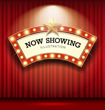 Cinema Theater curve sign red curtain light up banner design background, vector illustration