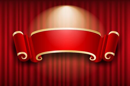Chinese banner design on red curtain light up background, vector illustration