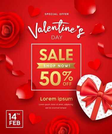 Happy Valentines day Poster gift box heart shape, Rose petals and ribbon sale design on red background, vector illustration Standard-Bild - 139723846