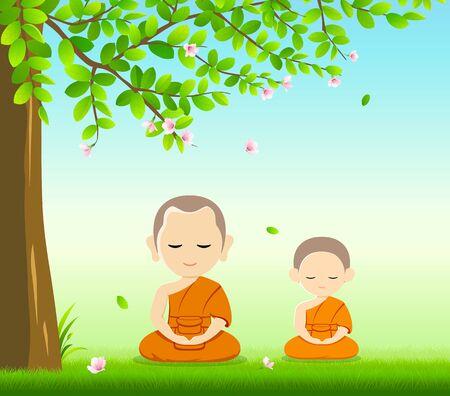 Monks meditation under tree and flower