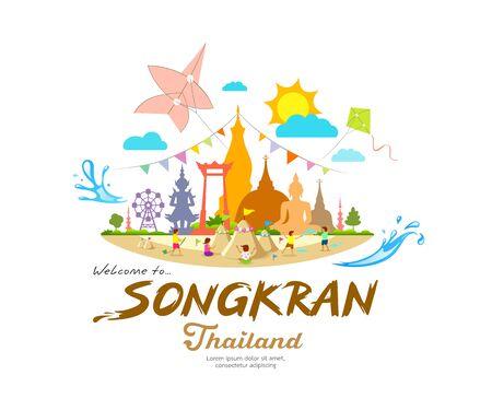 Erstaunliches Songkran-Festival, Sommersandpagode mit, wichtigen Orten in Thailand, Designhintergrundvektorillustration Vektorgrafik
