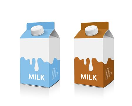 Milchboxverpackung hellblaue und braune Designkollektionen, Vektorillustration Vektorgrafik