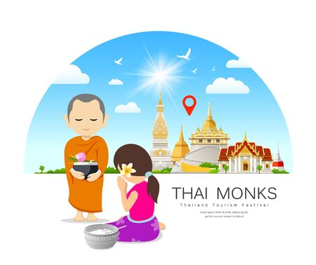 Women offering alms to Thai monks, on thailand Place of respect for faith architecture design background, illustration Çizim