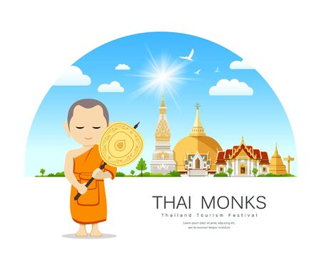 Thai monks fan in hand on Thailand place of respect for faith architecture design