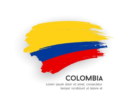 Flag of Colombia vector brush stroke design isolated on white background, illustration Illustration