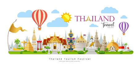 Thailand travel, beautiful building landmark on cloud and sky with Balloon background, vector illustration