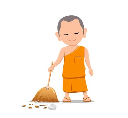 Thai monk holding broom is leaf sweep, design isolated on white background, vector illustration
