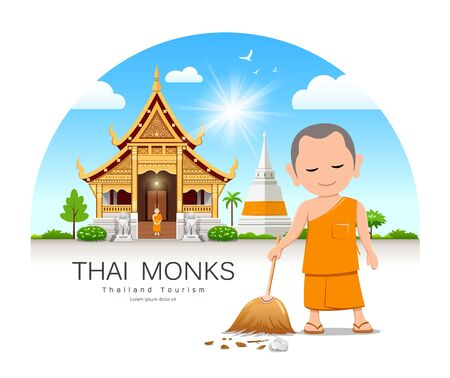 Thai monk holding broom is leaf sweep, Thailand temple and pagoda background, vector illustration 일러스트