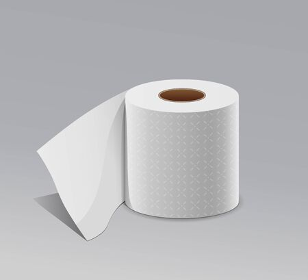 Tissue long roll white paper realistic design, on gray background, vector illustration
