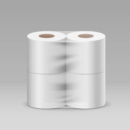 Plastic roll toilet paper one package four piece, design on gray background, vector illustration