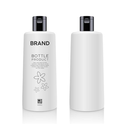 Bottle white products mockup design collection isolated on whtie background vector illustration
