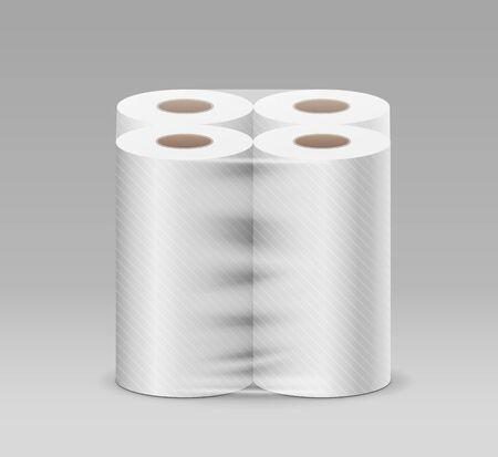 Plastic long roll toilet paper one package four roll, design on gray background, vector illustration Vektoros illusztráció