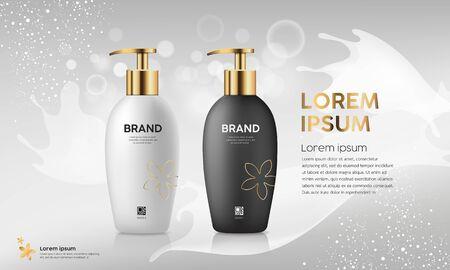 Pump bottle product collection, black and white with gold cap design on bokeh gray background, vector illustration Vektoros illusztráció