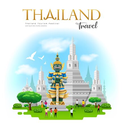 thai giant with Arun temple in bangkok thailand travel design on blue cloud and sky background, vector illustration