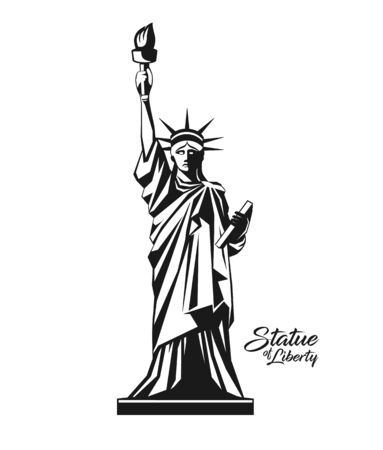 Statue of liberty from United States, black and white design background, vector illustration