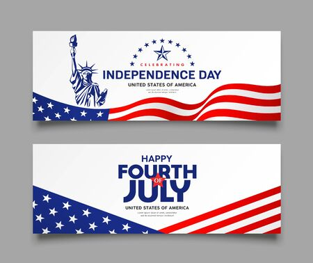 Celebration flag of america independence day with Statue of liberty design collections banners background, vector illustration