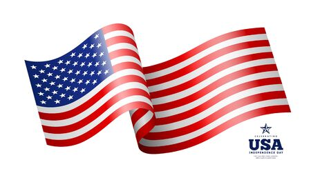 American flag, waving design isolated on white background, vector illustration
