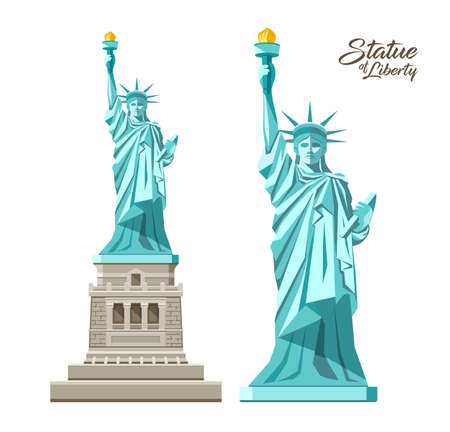 The Statue of Liberty vector, Liberty Enlightening the World, in the United States, collection design isolated on white background, illustration