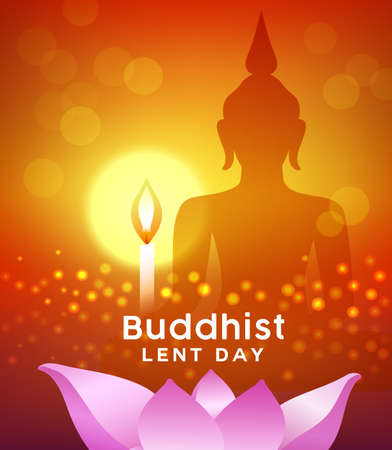 Buddhist lent day, buddha silhouette, with candle light and lotus flower pink background, vector illustration