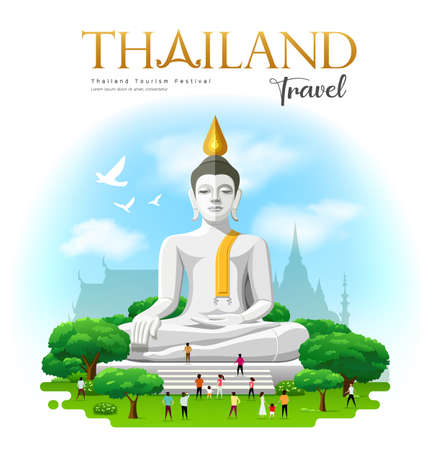 Big white buddha, Suphan Buri Province Thailand travel and people with tree and cloud and sky background design, vector illustration 向量圖像