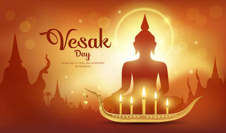 Vesak Day, It is an important day of Buddhism and the world. abstract orange background vector and Illustration