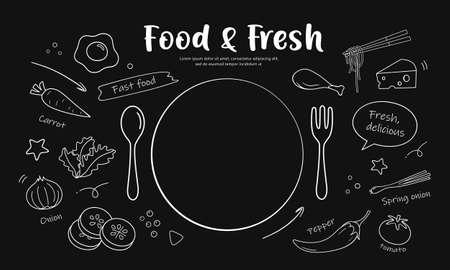 Drawing black and white food & fresh design on black background, vector illustration