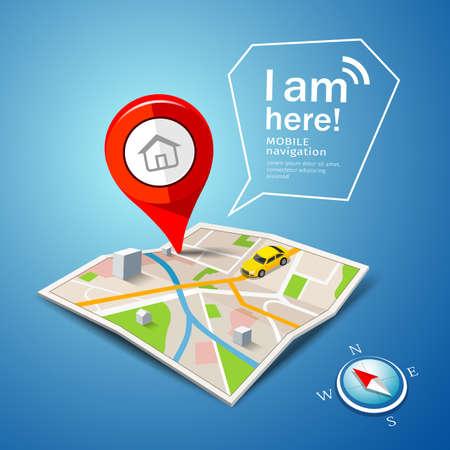 Folded maps navigation, with red color point markers, i am here message design background, vector illustration Ilustração