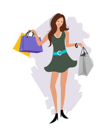 Woman hand holding shopping bag, cartoon design, vector illustration
