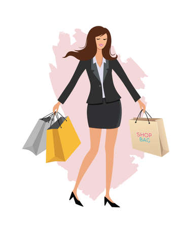 Office worker and shopping bag, charecter cartoon design, isolated on white background vector illustration