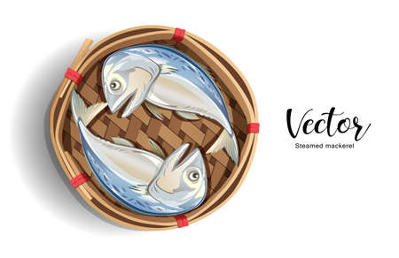Mackerel in Bamboo basket isolated on white background ,Popular food in Thailand, vector illustration