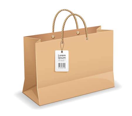 Brown paper bag shopping, with rope handles, and label template mock up design, isolated on white background Vetores