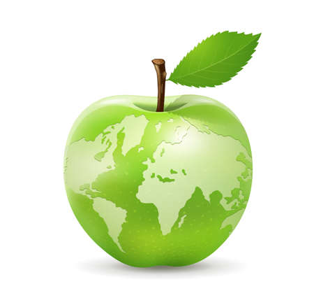 Green apple world map design, isolated on white background,