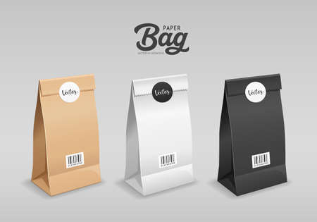 Brown, White, Black Paper bag folded, mouth bag there are circle stickers and barcodes, template collection design, isolated on gray background